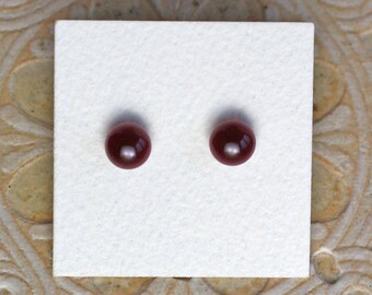 Fused Glass Earrings, Petite, Dark Burgundy DGE-1134