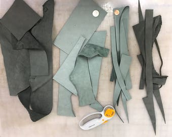 Nubuck Leather Pieces and Scraps - Gray leather pieces