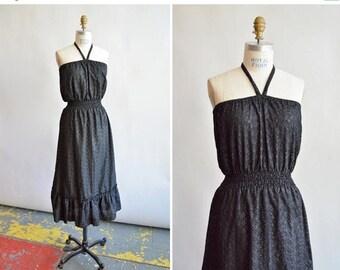 25% off Storewide // Vintage 1970s eyelet HALTER dress