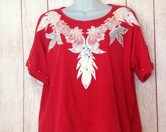 Vintage 80s Red Bedazzled Applique Cropped Tee Shirt T-Shirt One Size Fits All Oversized