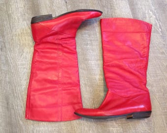 Vintage 80s Tall Red Leather Just Below the Knee Boots Ladies 8 M