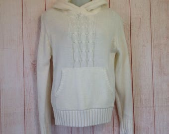Vintage 70s Hooded Pocket Warm Off White Boho Style Sweater Ladies Large