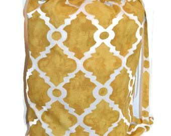 Laundry Bag, Duffle Bag, Storage Bag, Clothing Bag, Designer Laundry Bag, Gold Quatrefoill Laundry Bag, Extra Large Laundry Bag
