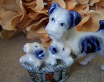 Vintage China Scottish Terrier Scottie with Puppies in a Basket Cobalt Blue and White Miniature Figurine Souvenir of Chicago Illinois