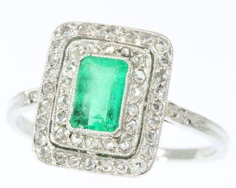 ON SALE Vintage Emerald Ring French Art Deco platinum engagement ring green emerald rose cut diamonds 1920s France