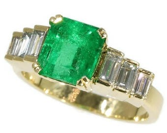 Colombian emerald diamond ring 18k yellow gold French vintage engagement ring 1980s jewelry