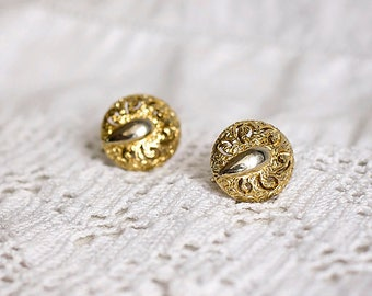 Sarah Coventry Gold Tone Swirls Vintage Clip On Earrings