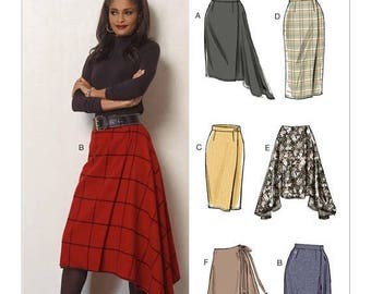 On Sale Pick Your Size - Vogue Skirt Pattern V8956 - Misses' Wrap Skirts in Six Variations - Vogue Easy Options