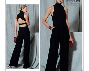 On Sale Vogue Jumpsuit Pattern V1524 by REBECCA VALLANCE - Misses' Open-Back, Banded Jumpsuit - Vogue Designer Original - Custom Fit Sexy Ju