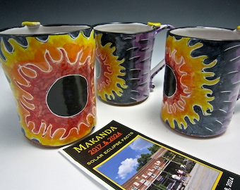 Large Solar Eclipse Ceramic Coffee Mug - Beer Tankard - Coffee cup - Sun Flame - Makanda 2017 - Stein - Commemorative Gift Limited Edition