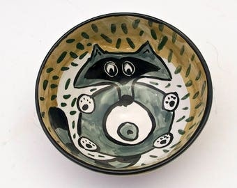 Ceramic Cereal Bowl - Grey Gray Raccoon -  Small Pottery Bowl - Small Serving bowl, Ice Cream Bowl Dish - Olive Green, Majolica  Animal Bowl