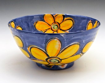 Medium Ceramic Bowl, Yellow Sunflowers, Flowers, Majolica Bowl, Gift for Her, Hostess Wedding Gift, Medium Serving Bowl, Mother's Day Gift