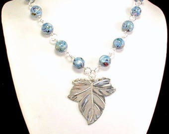 Clearance Necklace, Gift for HER, Woman's Necklace, Beaded Necklace, Silver Necklace, Leaf Pendant, Blue Beads, 50% OFF, Statement Necklace