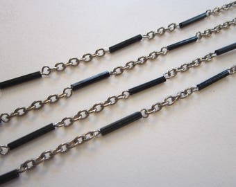 vintage Park Lane beaded chain - 50 inches - black glass beads on silver tone chain - signed Park Lane