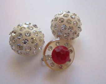 3 vintage buttons - RHINESTONE embellished vintage buttons