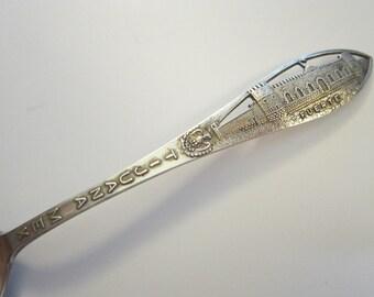 vintage sterling souvenir spoon - TIJUANA FUERTE - Tijuana FORT - Charles M. Robbins mark - cmr mark