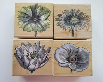 4 rubber stamps - HERO ARTS Poetic Petals - flower stamps - circa 2000