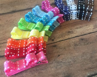 12 Girls Hair Clips, Hair Clips, starter set, Tuxedo Bows No Slip, Babies Toddler Girls rainbow set