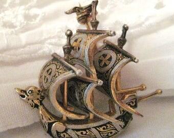 vintage Damascene pirate ship-made in Spain