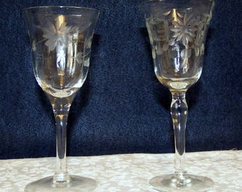 Two 4 oz Crystal Wine Goblets
