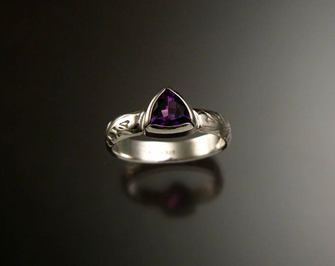 Amethyst ring Sterling Silver Triangle Stone with bezel setting Victorian Floral pattern ring made to order in your size