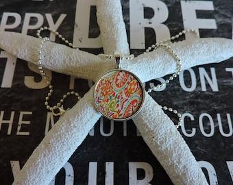 Paisley Pendant, Round Pendant, Antique Silver, Pendant Necklace, Decoupage, Bezel Setting