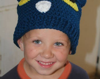 Ready to Ship  Crochet Pete the cat inspired hat: Adult Teacher