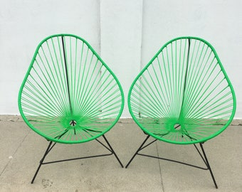 MID CENTURY MODERN Pair of Acapulco Style Chairs in Lime Green  (Los Angeles)