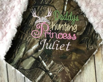 Daddy's Hunting Princess Camo Baby Girl Home Coming Monogrammed Minky Blanket