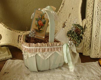 garden wedding basket table decor flower girl basket lace wood card basket cottage chic wedding party decor shabby green ivory