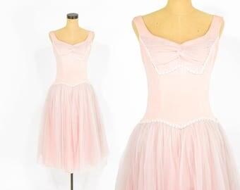 50s Pink Velvet Dress | Fairy Princess Prom Party Evening Tulle Dress | Medium