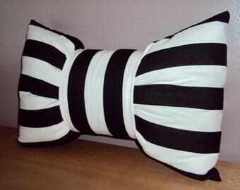 18x12 Black and White Cotton Stripe Bow Tie Decorative Lumbar Pillow
