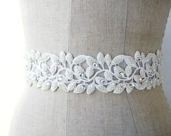 Crystal Bridal Sash, Lace Sash, Bridal Sash, Leaf Sash
