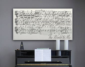10th Anniversary Gift, 10 Year Anniversary Gift, Personalized Sheet Music  On Canvas, Tenth