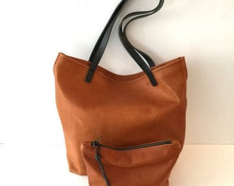 summer sale Supple Brown Leather Tote Bag with Black leather straps , Carryall  laptop bag , Large Leather Tote , Cognac brown weekender