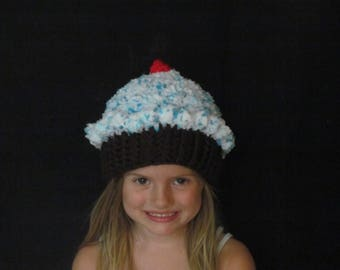 Crochet cupcake hat ~ Size Small ~ Blue and white top with Dark brown bottom