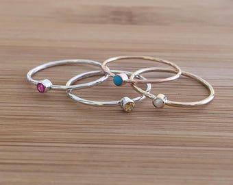 Tiny Birthstone Ring ~ 14K solid rose gold * birthstone ring * rose gold birthstone ring * birthstone ring * tiny gemstone ring
