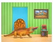 FALL SALE Dinosaur decor wall art: Omnivorous Reader