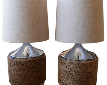 Table Lamps Pair of Cork Drum with Chrome Base and Top, circa 1970