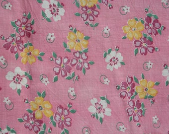 Vintage Feedsack Floral Feed Sack Flour Sack Fabric Pink Yellow 36 x 44 inches
