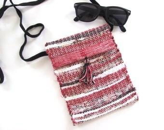 Red Black Cross Body Phone Purse, Small Crossbody Wallet Shoulder Handbag Pocketbook, Recycled Upcycled Rag Artisan Woven Fabric Hand Bag