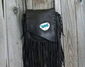 ON SALE Fringed leather handbag with dragonfly totem , Fringed crossbody handbag