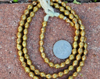 African Brass Bicone Beads: (7x7mm)