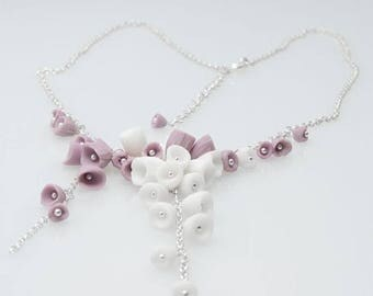 SALE Purple  and white  ceramic porcelain  flowers and  silver statement necklace  Los Cancajos, ceramic artisan handmade porcelain jewelry