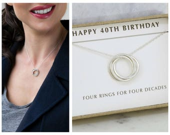 40th birthday gift for her, dainty necklace for 40th, sterling silver 4 rings necklace - Lilia