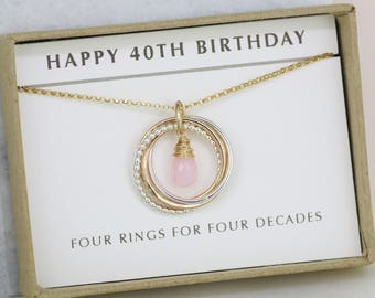 40th birthday gift for her, October birthstone necklace, pink opal jewellery, 40th gift for girlfriend - Lilia