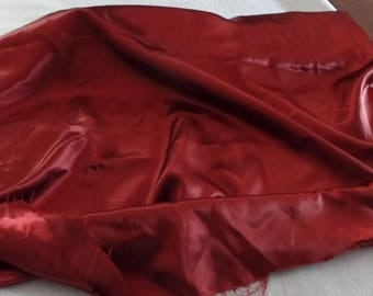 Vintage Cranberry Red Satin Fabric 3 1/3 Yards