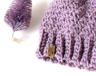 SNOW BUNNY Beanie In Lavender with Faux Fur Pom Pom, Wool, MMIM, Handmade, Crochet, Winter Hat, Kids, Baby, Small, Nordic baby