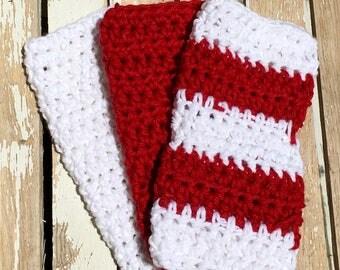 Crochet Dishcloth, Crochet Washcloth, Knit Washcloth, Knit Dishcloth, Stripes, Bright Red and  White, Set of Three Striped Dishtowel