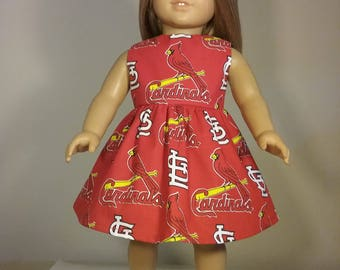 18 inch Doll Clothes St Louis Cardinals Baseball Print Dress fits American Girl Doll Clothes